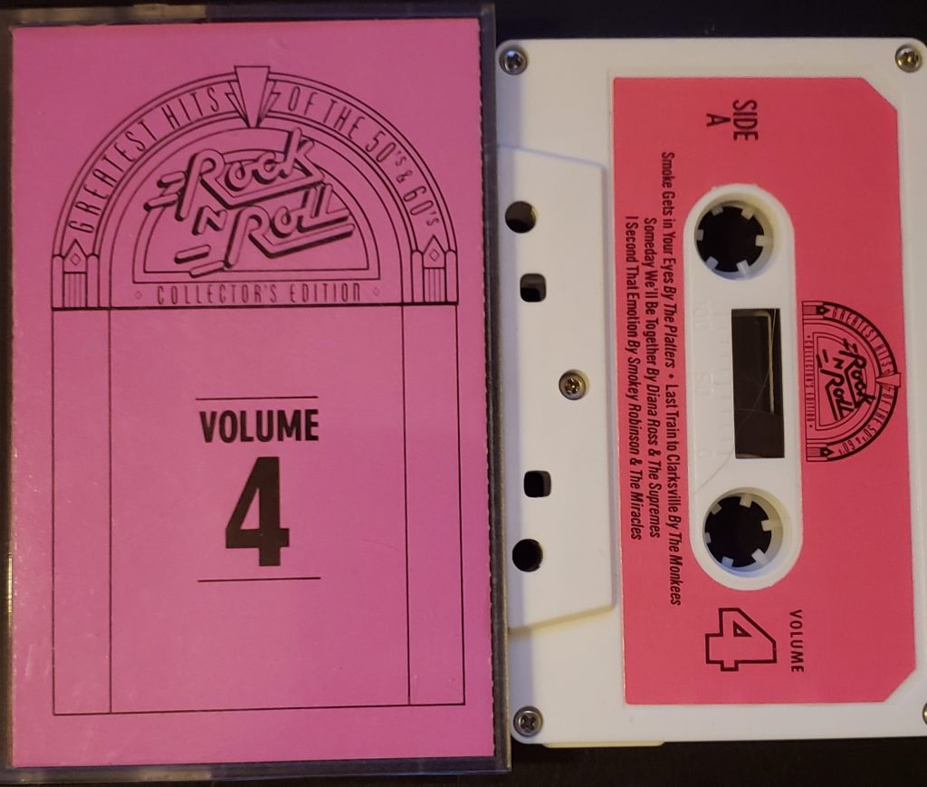 Compact cassette insert and side A of Rock N' Roll Collectors Edition - Greatest Hits of the 50's & 60's Volume 4