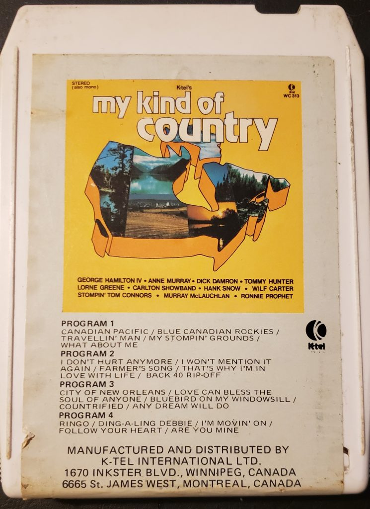 Front cover of K-Tel's My Kind of Country eight track cartridge