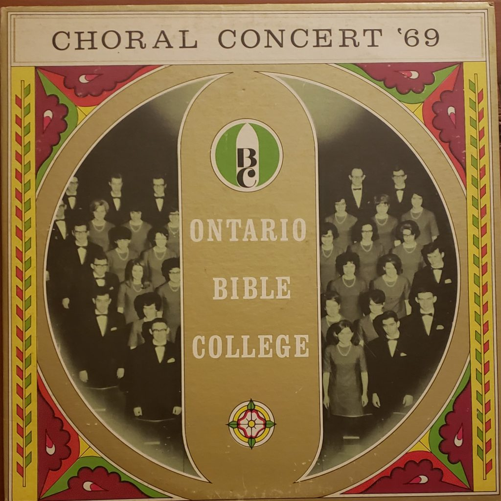 Front sleeve of Ontario Bible College Choral Concert '69 LP