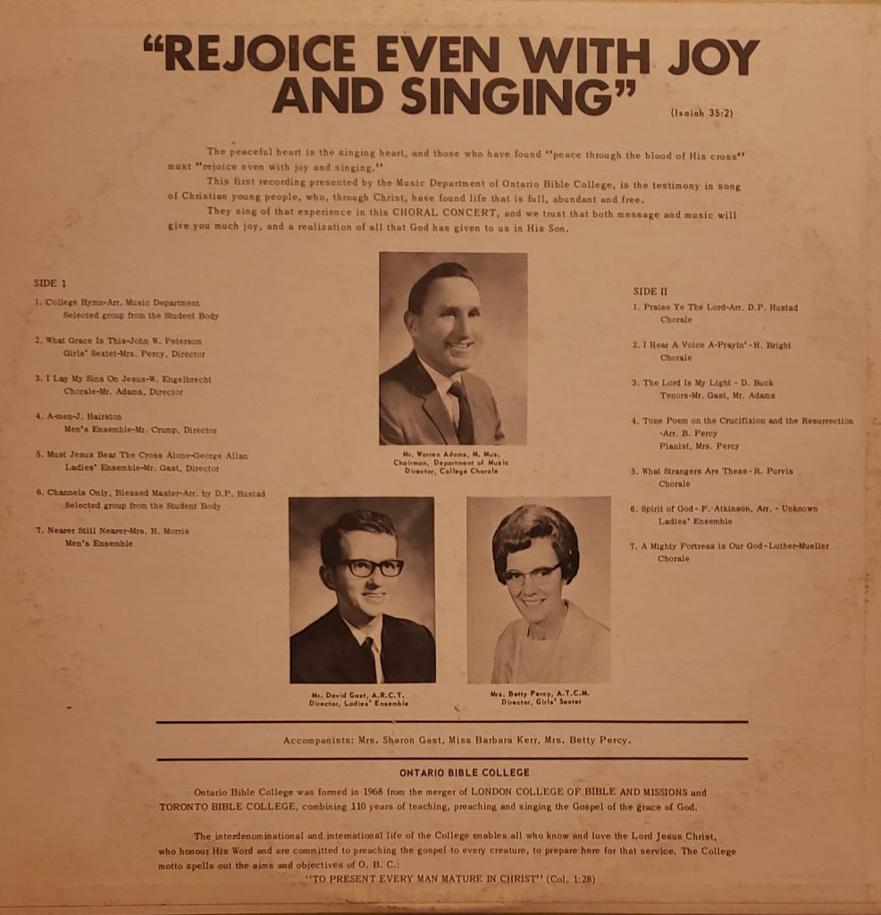 Rear sleeve of Ontario Bible College Choral Concert '69 LP