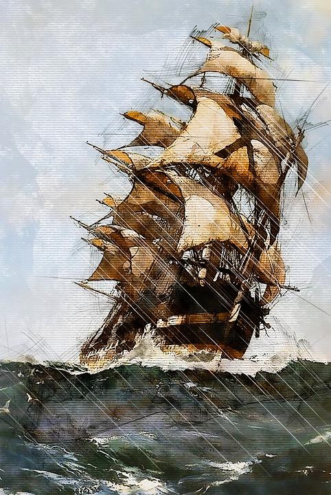 Drawing of ship at sea