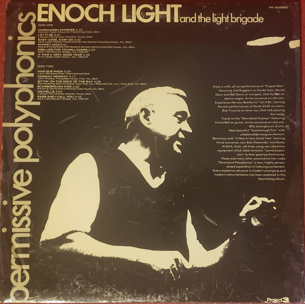 Read sleeve of Enoch Light and the Light Brigade's Permissive Polyphonics
