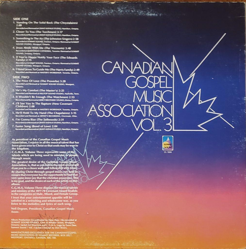 Rear cover of the Canadian Gospel Music Association Vol. 3