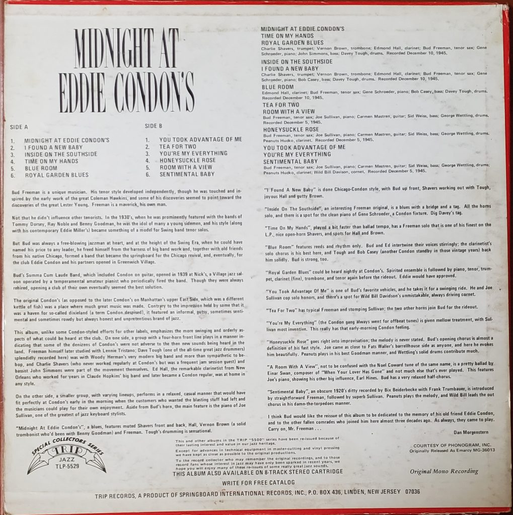Back Cover of Midnight at Eddie Condon's