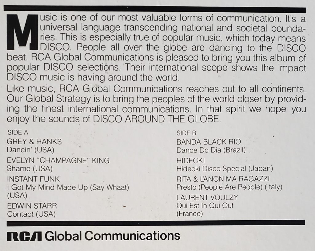 Rear cover of Disco Around the Globe LP
