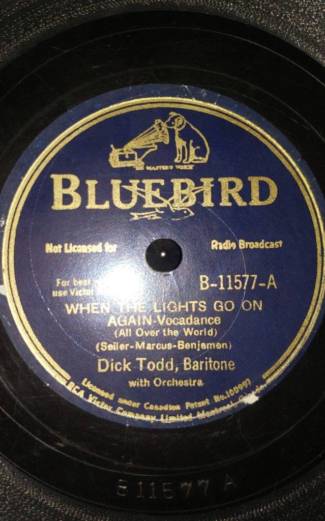 A-Side of Dick Todd's When The Lights Go On Again (All Over the World) 78